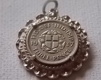 Vintage Silver 1937 coin mount charm
