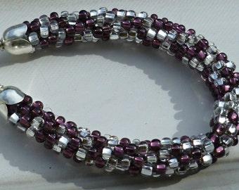 "Beaded Kumihimo Bracelet  ""Crown Jewels"" purple & silver"