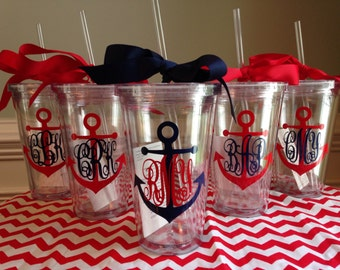 3 Personalized Monogrammed Nautical Anchor Acrylic Double-Wall BPA-free Tumblers