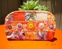 Button Zippered pouch/clutch