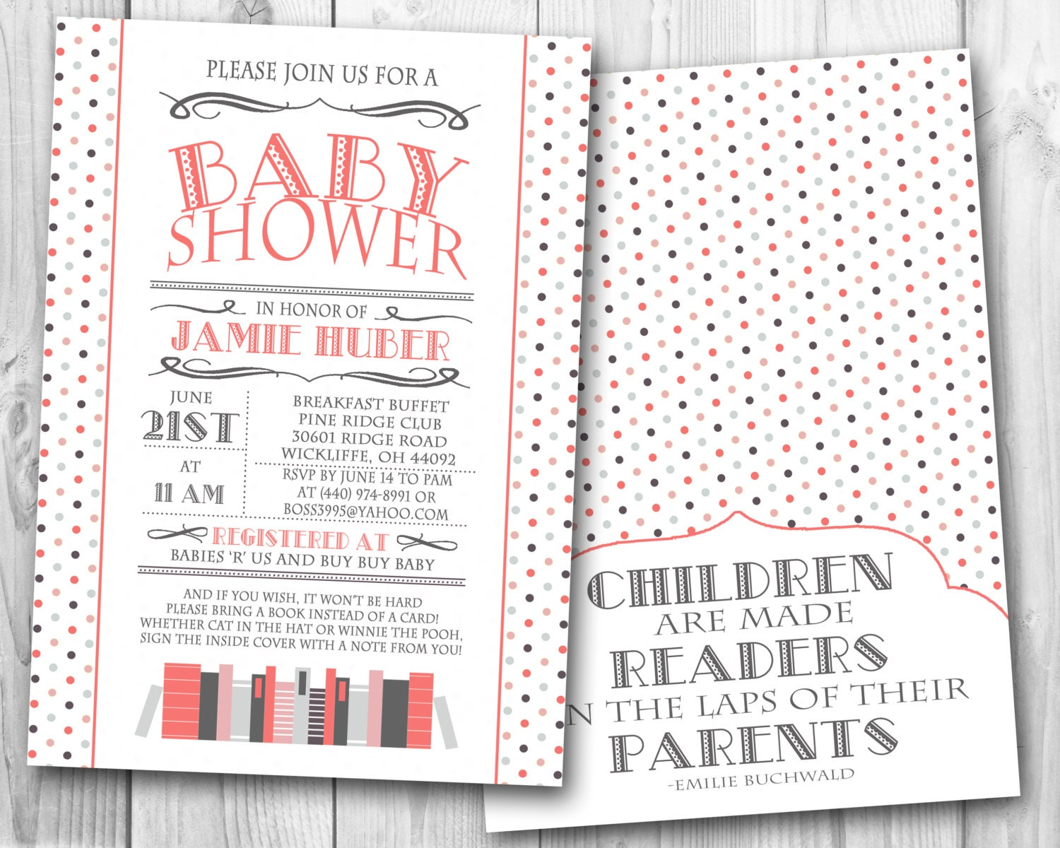 book themed baby shower invitation coral and by ohhappinesscards