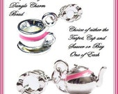 Choice of One Piece - Matching TEA PoT or CuP & SAUCER with Pink Enamel Trim - Silver plated Dangle Charm Bead - fit European Bracelets - MD