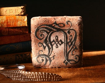 Monogram on a brick, letter A, monogram gift