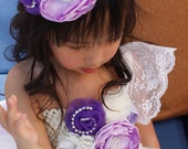 Flower girl dress. Off White Flowers TuTu Dress with handmade flowers. Does not include Train or Bow.