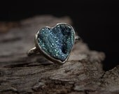 Sterling Silver Blue Drusy/Druzy Chalcedony Ring-Chalcedony Druzy Heart Ring-Rough Stone Rings