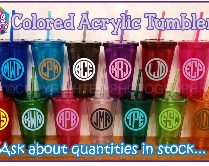 Personalized Colored MONOGRAMMED ACRYLIC TUMBLERS in Purple Grey Hot Pink Lime Green Orange Magenta Aqua Blue Red Turquoise Crimson Clear