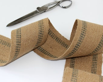 "Rustic Vintage Burlap Ribbon - Last Available Yardage - 65""   - Grey Striped - Upholstry Webbing -  3 1/2"" Wide"