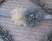 Baby Headband, Flower Bow, Yellow Gray, Chiffon Fabric, Pearls Rhinestones, Any Size