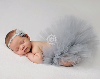 Baby Tutu, Newborn Tutu, Silver Gray, Flower Headband, Photo Prop, Ready To Ship