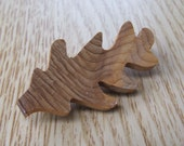Small Oak Leaf Brooch - Handmade from Yew wood