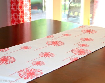 CLEARANCE Table Runner, Coral Dandelion Table Runner, 13x42 or 13x72, Floral Table Runner, Spring Home Decor, Dining Room Table Cloth SALE