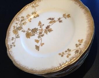 Antique Set of 8 French Plates, Gold Embellished, Limoges France, Fine Porcelain, Made in France
