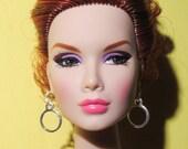 1:6 scale fashion doll dangling double silver hoop earrings