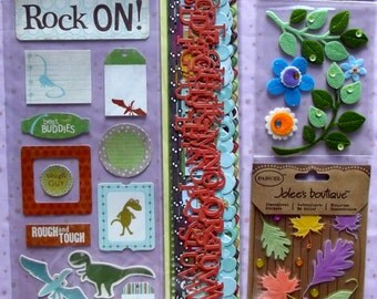 Embellishments, stickers, border, 4 pkgs of K&Co. Jolee's, My Mind's Eye, leaves, flowers, alphabets,  blue, green, for planner, journal
