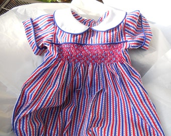 Size 18 Months Red and Blue Handsmocked Baby Boy Bubble