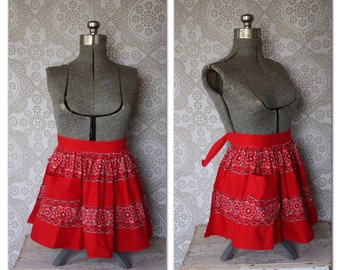 Vintage 1950's Red Bandana Hankie Half Apron