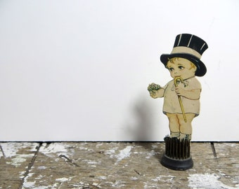 Vintage Die Cut Groom Little Bow Groom Boy with Top Hat Wedding Decor Wedding Die Cut Groomsman Card