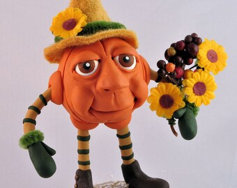 Polymer Clay Autumn Pumpkin Man Figurine