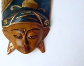 Bali mask, small hand carved teak mask of indonesian dancer in headdress
