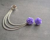 Purple Rose Chain Ear Cuff (Pair)