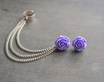 Purple Rose Chain Ear Cuff (Pair)