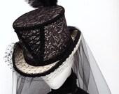 Gothic Victorian  corset ivory & black lace wedding hat