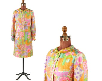 Vintage 1960's Abstract Multi-Colored Psychedelic Hippie Mod Shift Bright Watercolor Dress M