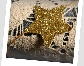 Gold Sparkle Star Garland  - 6 feet long - Gold twine