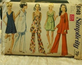Simplicity 8149 Vintage 1950s Tunic, MIni Dress, Bell Bottoms, Shorts Sewing Pattern Size 10 Bust 32.5