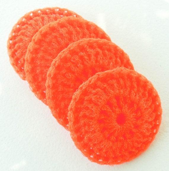 Nylon Pot Scrubber - Set of 2 through 8 - Pumpkin Orange - Crochet Dish Scrubbies