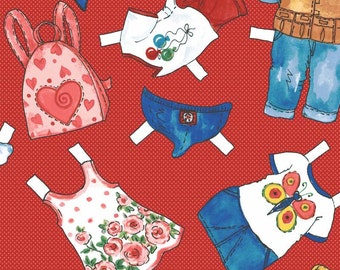 """Today's Paper Dolls by Newcastle Fabrics 597-24-One panel of Clothes for Large """"Today's Paper Dolls"""""""