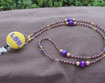 LSU Beaded ID Badge Lanyard Gold & Purple ID Badge Holder