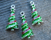 2 Christmas Tree Charms Silver with Green and Red Enamel 3cm