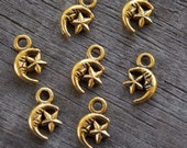 40 Antiqued Gold Moon and Star Charms 12mm
