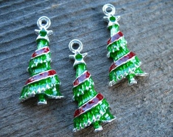 4 Enameled Christmas Tree Charms 3cm Silver with Green Enamel