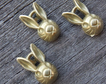 12 Bronze Rabbit Head Charms 14mm Easter Bunny