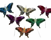 12 pc 2 Inch Glittery Bright Feather Butterflies (BF2239)