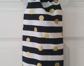 Striped Gold Dot Plastic Grocery Bag Holder