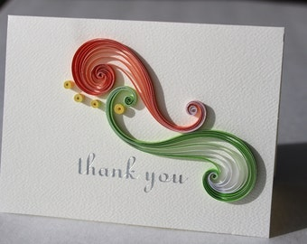 Blank thank you cards – quilled cards – neon color swirls