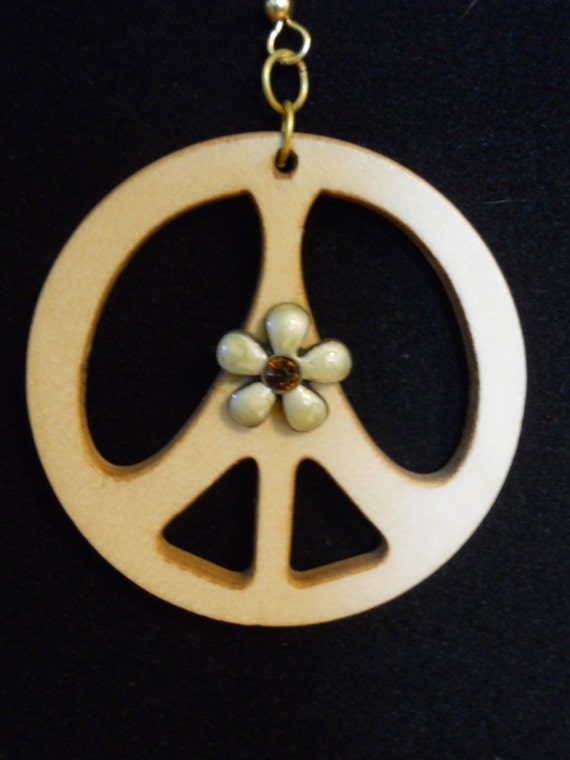 wooden peace earrings by homemadegiftboutique on etsy