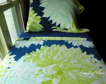 Flower Crib Set Girls Toddler Fleece Bedding Set 'Blue Dahlias' Handmade Fits Crib and Toddler Beds