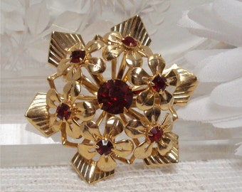 1 3/4 Ruby Red Brooch Gold Tone Flower