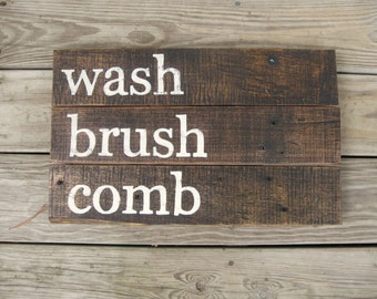 Rustic wall decor distressed Wood sign Rustic bathroom decor Reclaimed wood bathroom wall decor Rustic home decor Family wall art