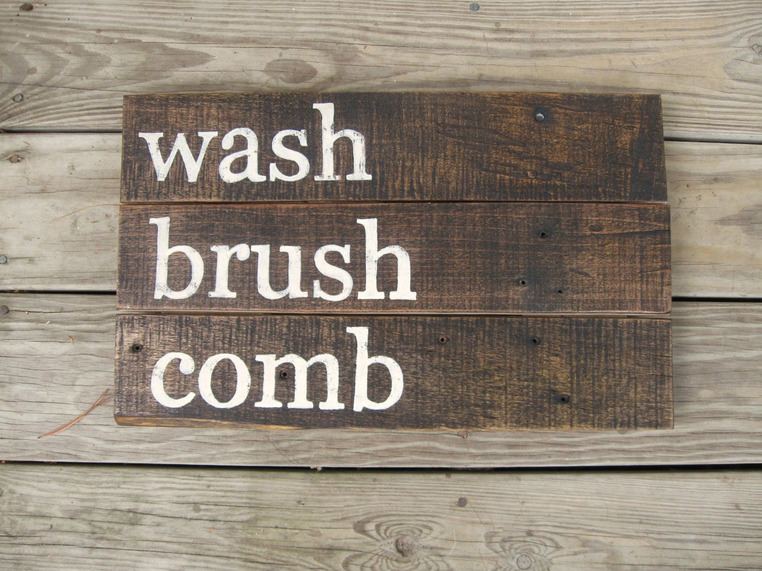 Rustic wall decor distressed wood sign rustic bathroom decor for Wood bathroom wall decor