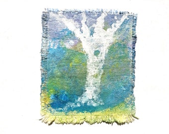 Canvas Art Patch Original Wearable Painting White Tree
