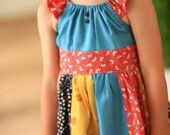 American Honey Sash Peasant Dress with Brass Button Accents