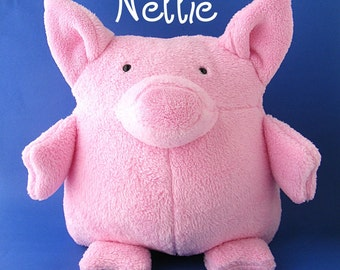 Nellie - a cuddly huggable pig stuffed animal pattern for beginners (digital pattern, PDF)