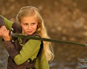 Girl's Tauriel The Warrior Elf Costume: Dress With Hood, Belt, Arm Guards, & Armor Vest, Child's Size 9/10, Ready To Ship