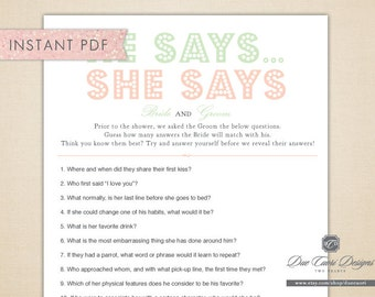 INSTANT PDF, Peach & Mint He Says She Says, Printable Bridal Shower Game, Download Now