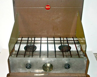 Mid Century, PREPO Gas Camp Stove, Brown Metal Case, Unusual Find, Campiing, Outdoors, Fathers Day